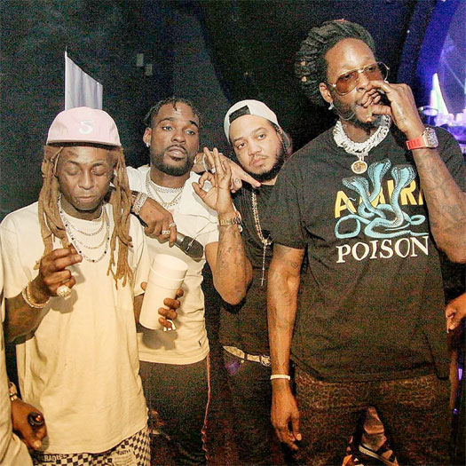 Lil Wayne Jokes Around With 2 Chainz At LIV Nightclub In Miami