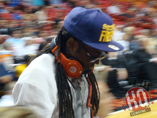 Pictures Of Lil Wayne At The Miami Heat vs Indiana Pacers Game