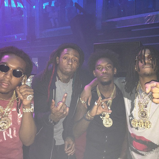Lil Wayne Parties At LIV Nightclub In Miami With Migos