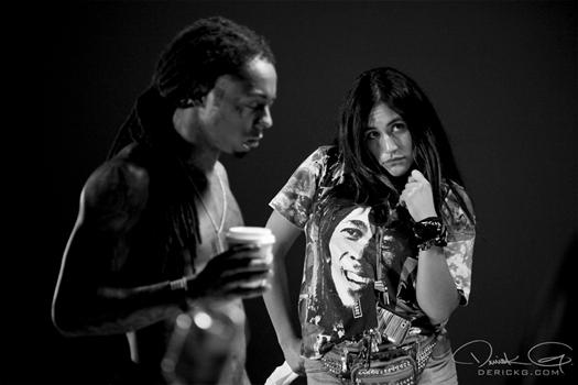 Nos bastidores de gravação de vídeo Lil Wayne Espelho
