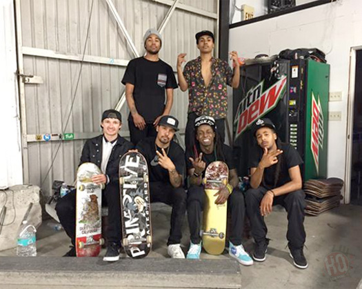 Lil Wayne Hits Up Paul Rodriguez Private Skate Park In Los Angeles