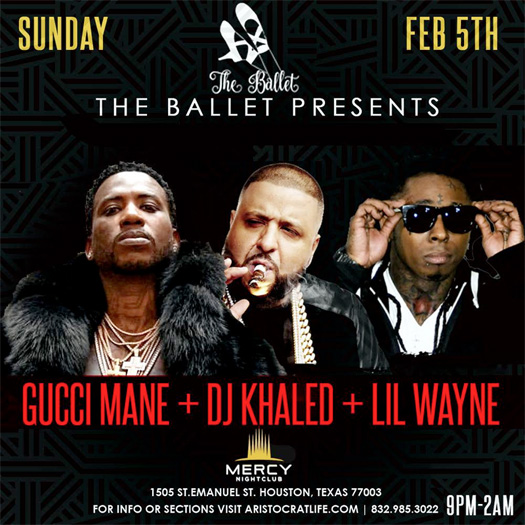 Lil Wayne To Perform Live At MERCY Nightclub In Houston With Gucci Mane & DJ Khaled