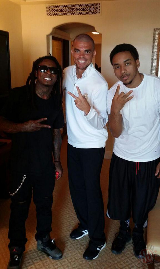 Lil Wayne Meets Real Madrid Players Sergio Ramos, Pepe & Jesus In Miami
