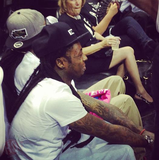 Lil Wayne Attends San Antonio Spurs vs Miami Heat Game In Texas