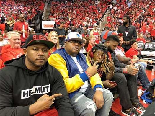 Lil Wayne Says C5 To The Camera At The Houston Rockets vs Golden State Warriors NBA Game