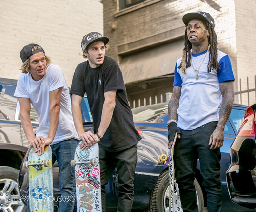 Lil Wayne Shoots A Private Music Video At The LA Fashion District In Downtown Los Angeles