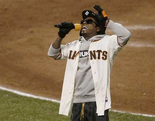 Lil Wayne Sings Take Me Out To The Ball Game During Giants vs Cardinals Game