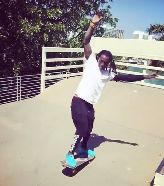 Lil Wayne Has A Skateboarding Session At His Miami Crib With Evan Hernandez