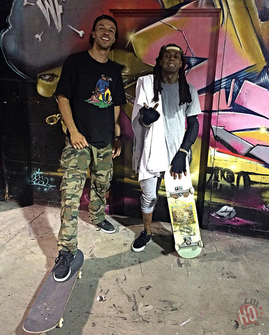 Lil Wayne Has A Skateboarding Session At The Bridge Skate Park In New Jersey