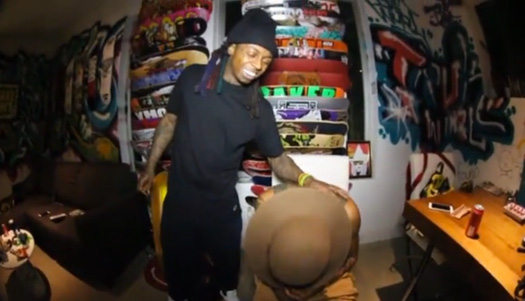 Lil Wayne Goes Skating In His House & On His Roof