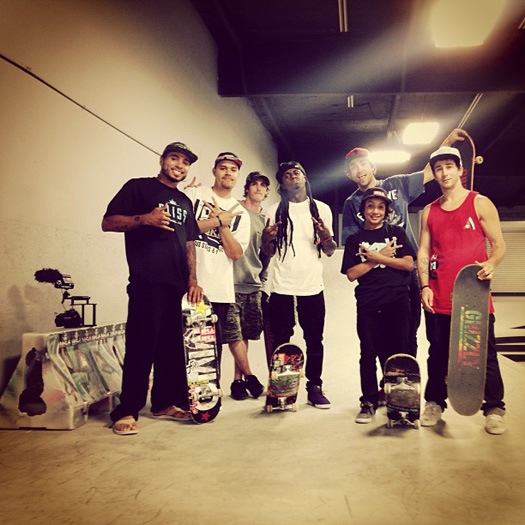 Lil Wayne Goes Skating At Paul Rodriguez Private Skate Park In Los Angeles