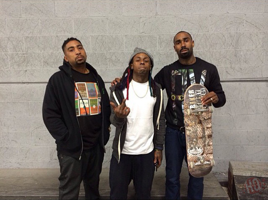 Lil Wayne Hits Up Paul Rodriguez Private Skate Park In Los Angeles For A Skating Session