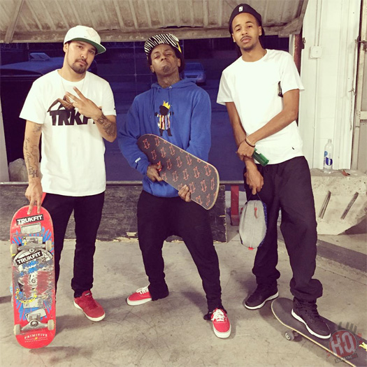 Lil Wayne Goes On A Skating Session At Paul Rodriguez Private Skate Park