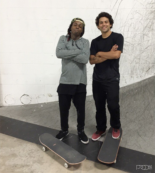 Lil Wayne Has A Skating Session With Paul Rodriguez At His Skate Park In Los Angeles