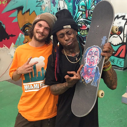 Lil Wayne Has A Skating Session With Torey Pudwill & Erik Bragg In Miami