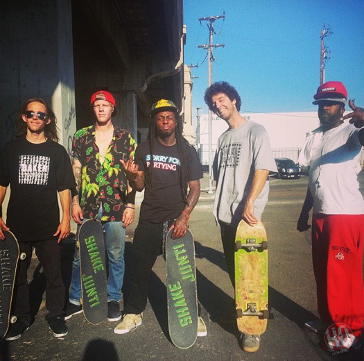 Lil Wayne Goes Skating On The Streets Of Los Angeles With His Baker Shake Junt Crew