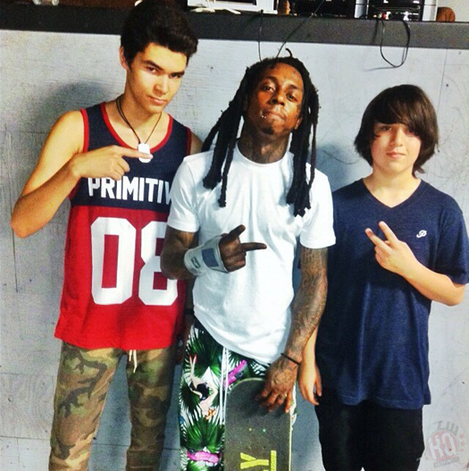 Lil Wayne Practices His Skating Tricks With Grizzly Gang Chance Eldridge