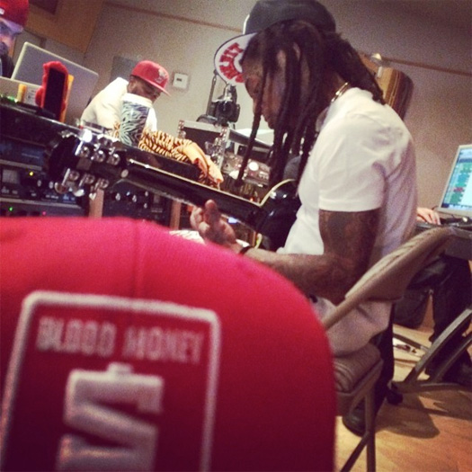 The Game Hits The Studio With Lil Wayne & His Guitar
