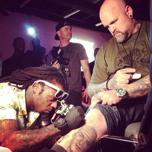 Lil Wayne Attends His SUPRA Spectre Shoe Launch, Tattoos BJ Betts & Chaz Ortiz