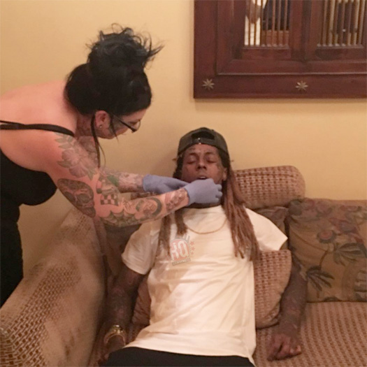 Lil Wayne Tattoos A Pair Of Glasses On His Forehead, Gets His Lip Re-Pierced