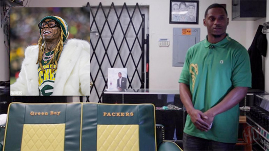 Lil Wayne Says Thank You To Furniture Maker Gib Fortune For Building Him A Custom Green Bay Packers Themed Sofa