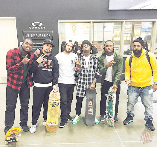 Lil Wayne Hits Up The Berrics Skatepark In Los Angeles For A Skating Session