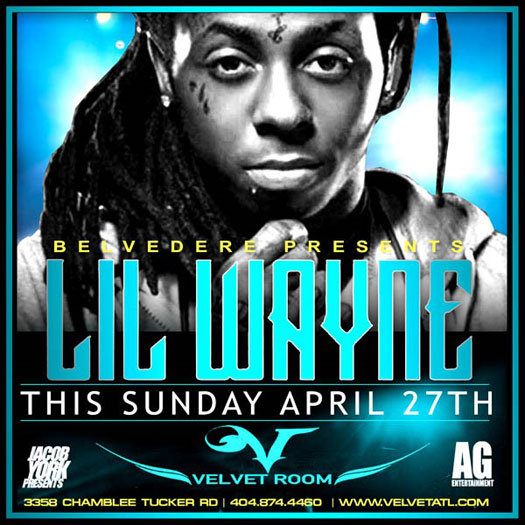 Lil Wayne To Party At The Velvet Room In Georgia On April 27th