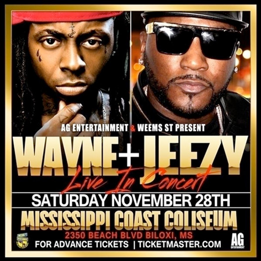 Lil Wayne & Young Jeezy To Perform Live At Mississippi Coast Coliseum In Biloxi