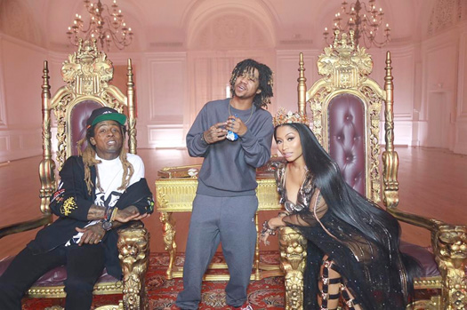 Nicki Minaj & Lil Wayne Joke Around On Set Of No Frauds