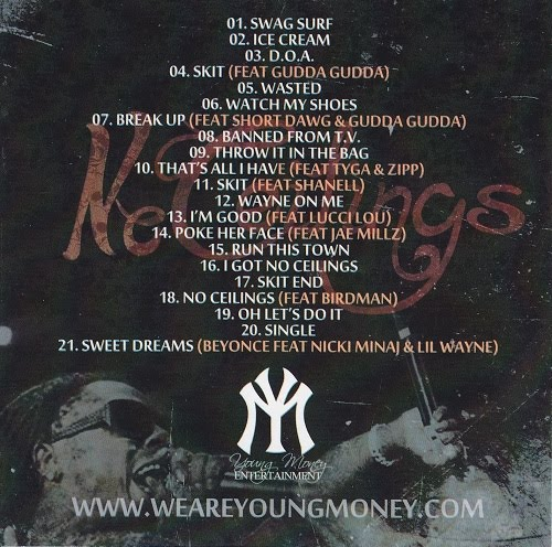 Lil Wayne - No Ceilings Official Back Cover