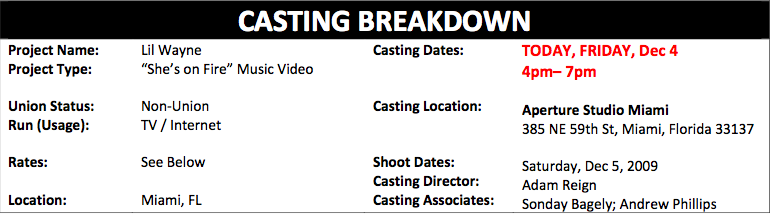 Casting For Lil Waynes On Fire Music Video
