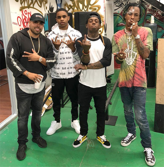 Rich The Kid & YBN Almighty Jay Pay Lil Wayne A Visit At His TRUKSTOP Skate Park