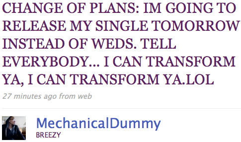 Chris Brown Transformer Single Coming Tuesday