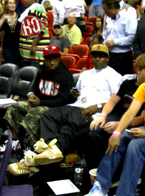 Pictures Of Lil Wayne Attending Miami Heat vs New York Knicks Game