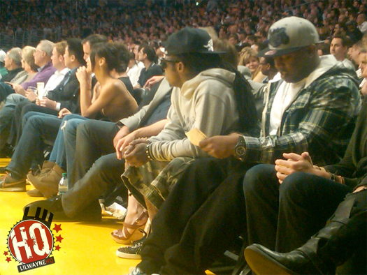 Pictures Of Lil Wayne Attending New Orleans Hornets vs Los Angeles Lakers Game