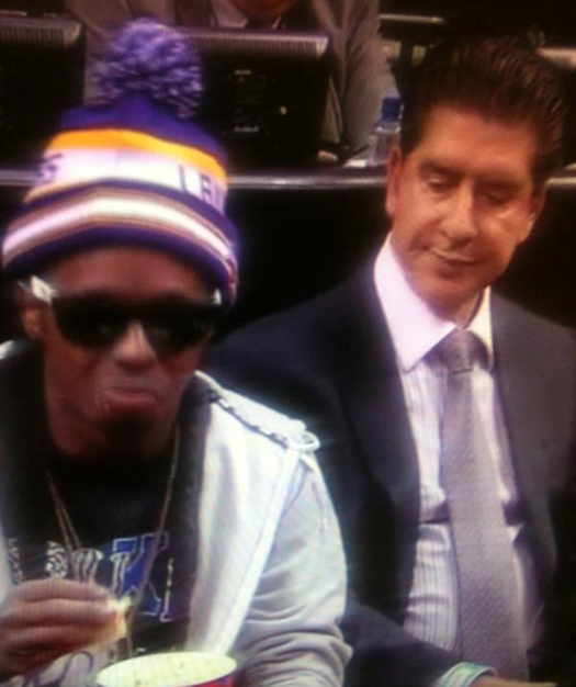 Lil Wayne Courtside At Miami Heat vs Los Angeles Lakers Game