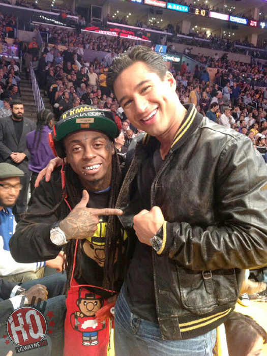 Lil Wayne Watches Denver Nuggets vs Los Angeles Lakers Game With Jimmy Iovine