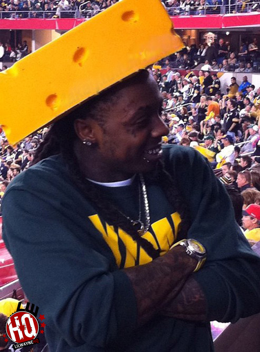 Lil Wayne At The Super Bowl Wearing A Cheesehead Hat