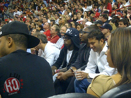 Pictures Of Lil Wayne Sitting Courtside At Charlotte Bobcats vs Miami Heat Game