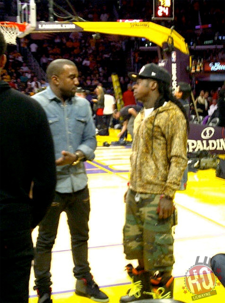 Pictures Of Lil Wayne Attending Los Angeles Lakers vs Chicago Bulls Game