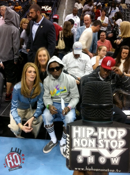 Pictures Of Lil Wayne Attending Game 3 Of WNBA Finals In Atlanta