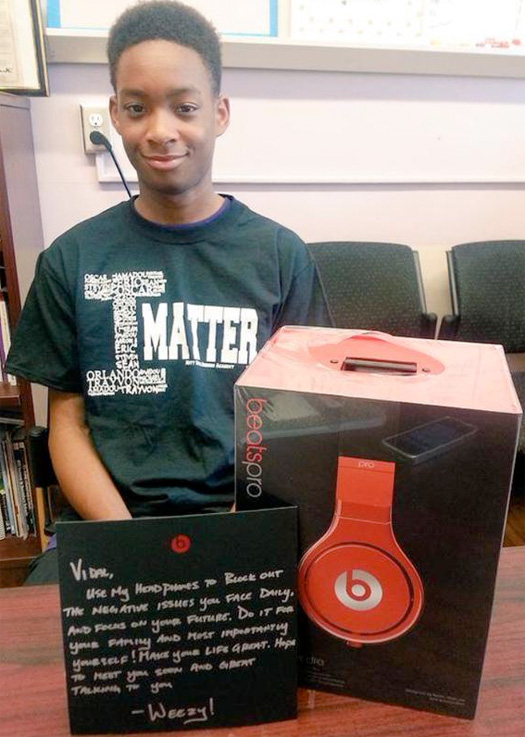 Lil Wayne Sends A Boy Named Vidal From Mott Hall Bridges Academy A Gift & Message