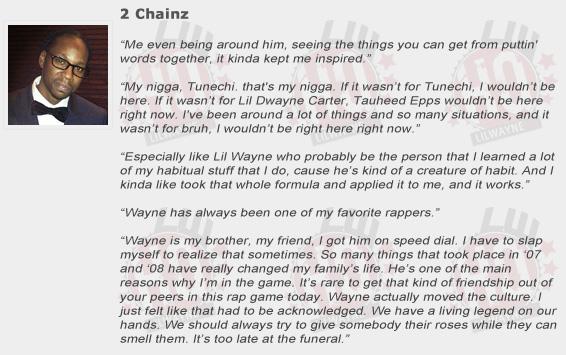 2 Chainz Compliments Lil Wayne