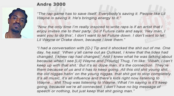 Andre 3000 Compliments Lil Wayne
