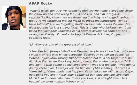 ASAP Rocky Compliments Lil Wayne