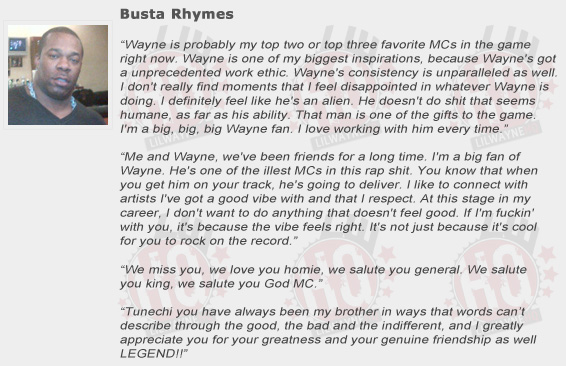 Busta Rhymes Compliments Lil Wayne