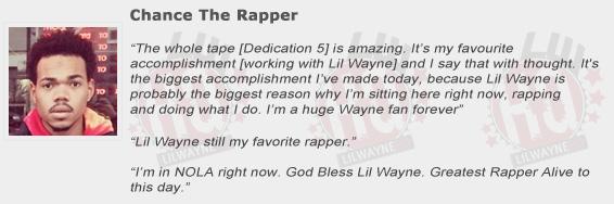 Chance The Rapper Compliments Lil Wayne