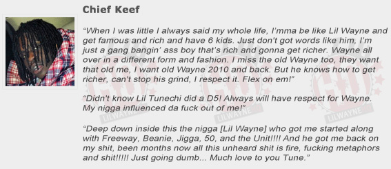 Chief Keef Compliments Lil Wayne