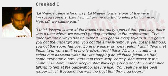 Crooked I Compliments Lil Wayne