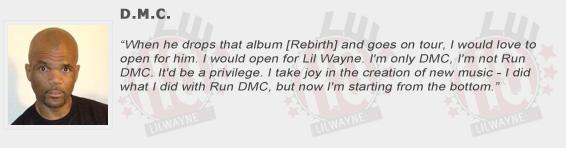 DMC Compliments Lil Wayne